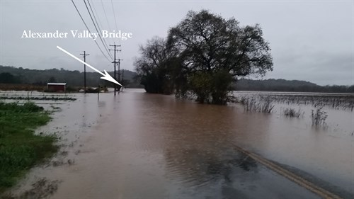 Alexander Valley was submerged in water and the bridge was closed on December 11, 2014.