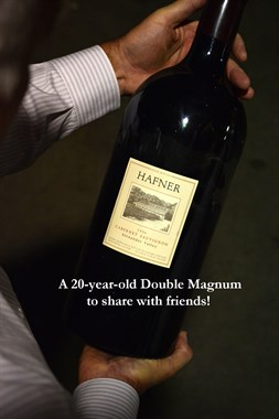 Hafner Vineyard double magnum of Cabernet. A fun bottle to share with friends.