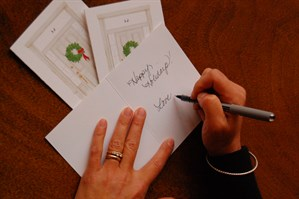 Sandy handwrites each patron's personal gift message.