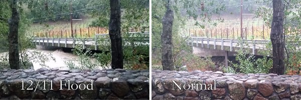 The different levels of Sausal Creek during our flood on December 11, 2014.