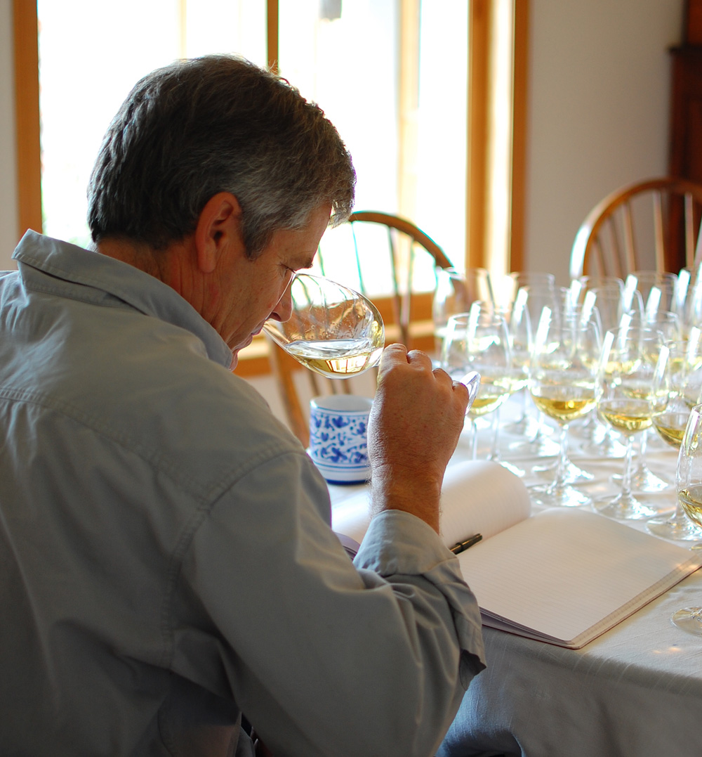 Parke Hafner tastes Chardonnays at Hafner Vineyard