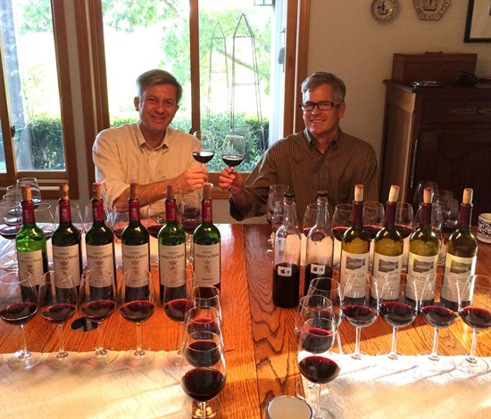 Parke Hafner and Ludovic David of Marquis de Terme taste Hafner wines.
