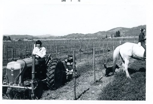 Parke and Mary laying irrigation